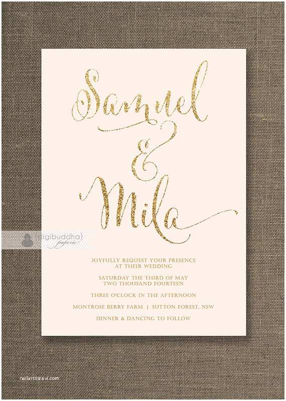 Blush and Gold Wedding Invitations Blush Pink & Gold Wedding Invitation Gold Glitter Modern