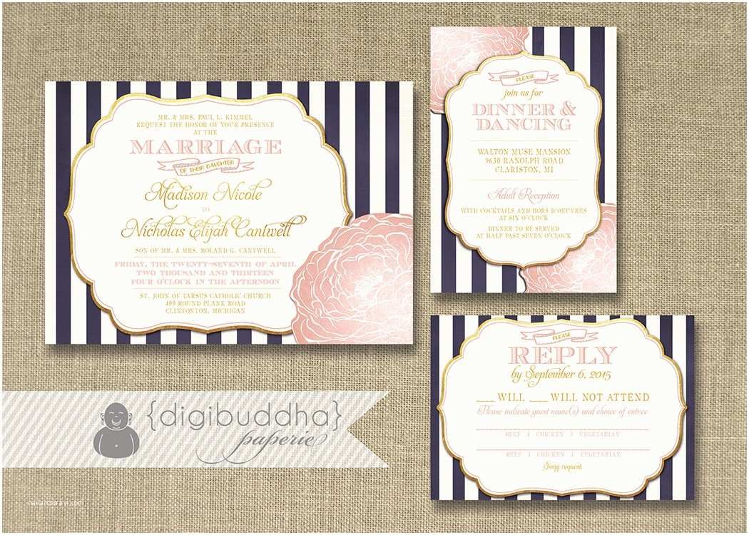 Blush and Gold Wedding Invitations Blush Pink & Gold Wedding Invitation Rsvp Info Card 3 Piece