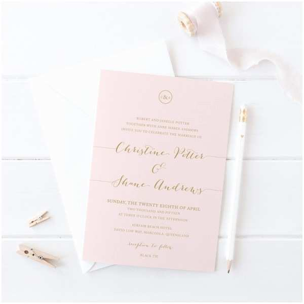 Blush and Gold Wedding Invitations Blush Pink and Gold Wedding Invitation Suite Matching