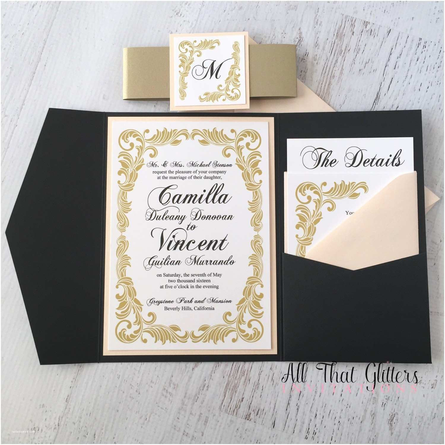 Blush and Gold Wedding Invitations Camilla Vintage Wedding Invitation Suite