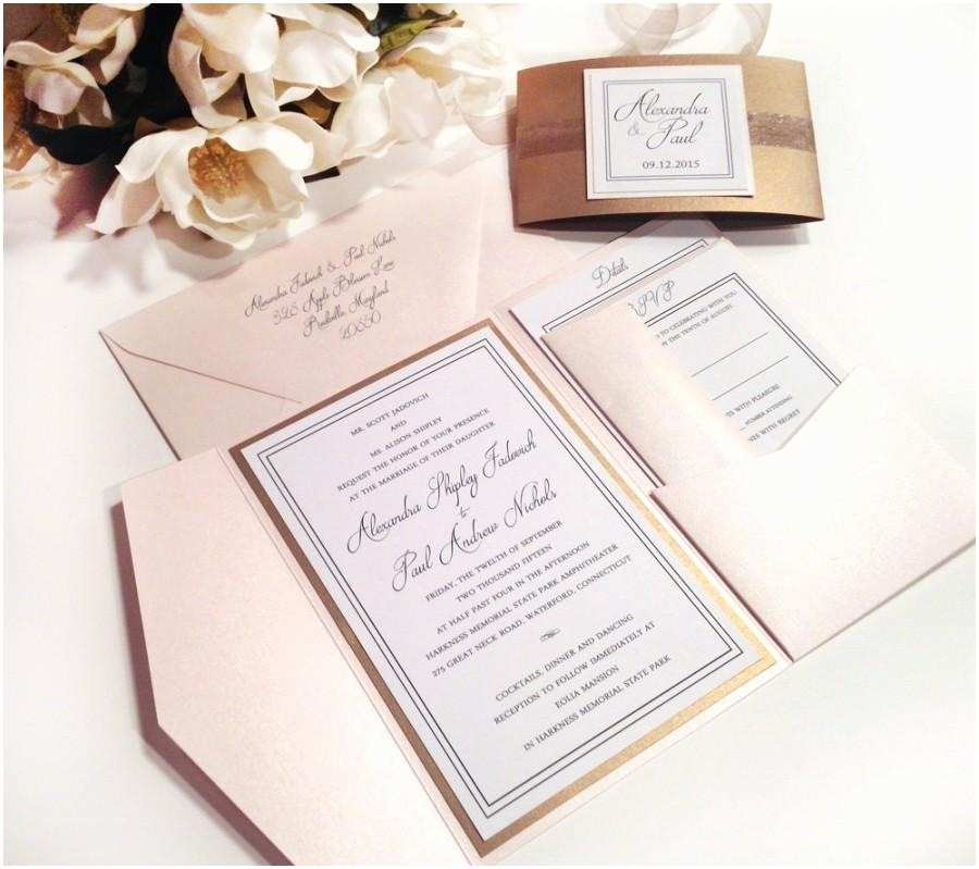 Blush and Gold Wedding Invitations Elegance Blush and Antique Gold Pocket Folder Style