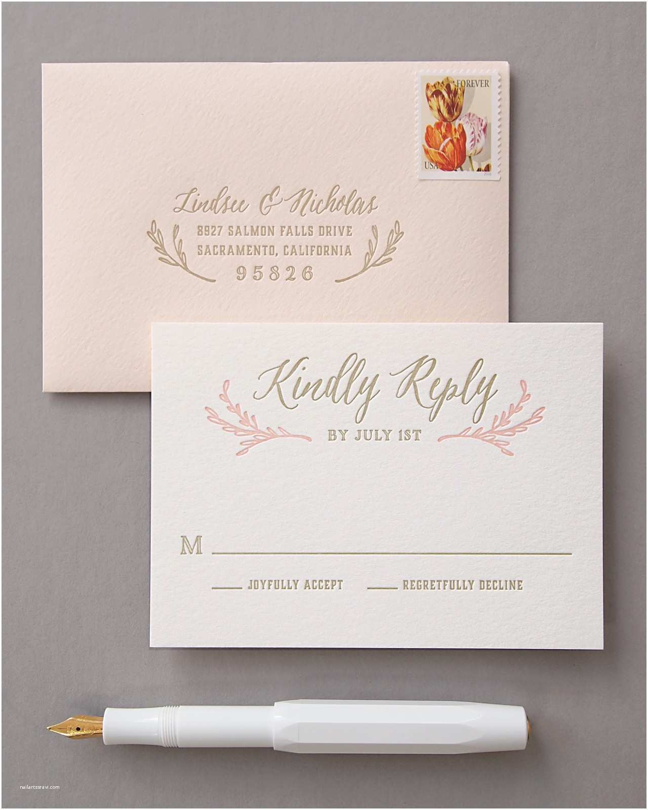 Blush and Gold Wedding Invitations Elegant Blush and Gold Letterpress Wedding Invitations