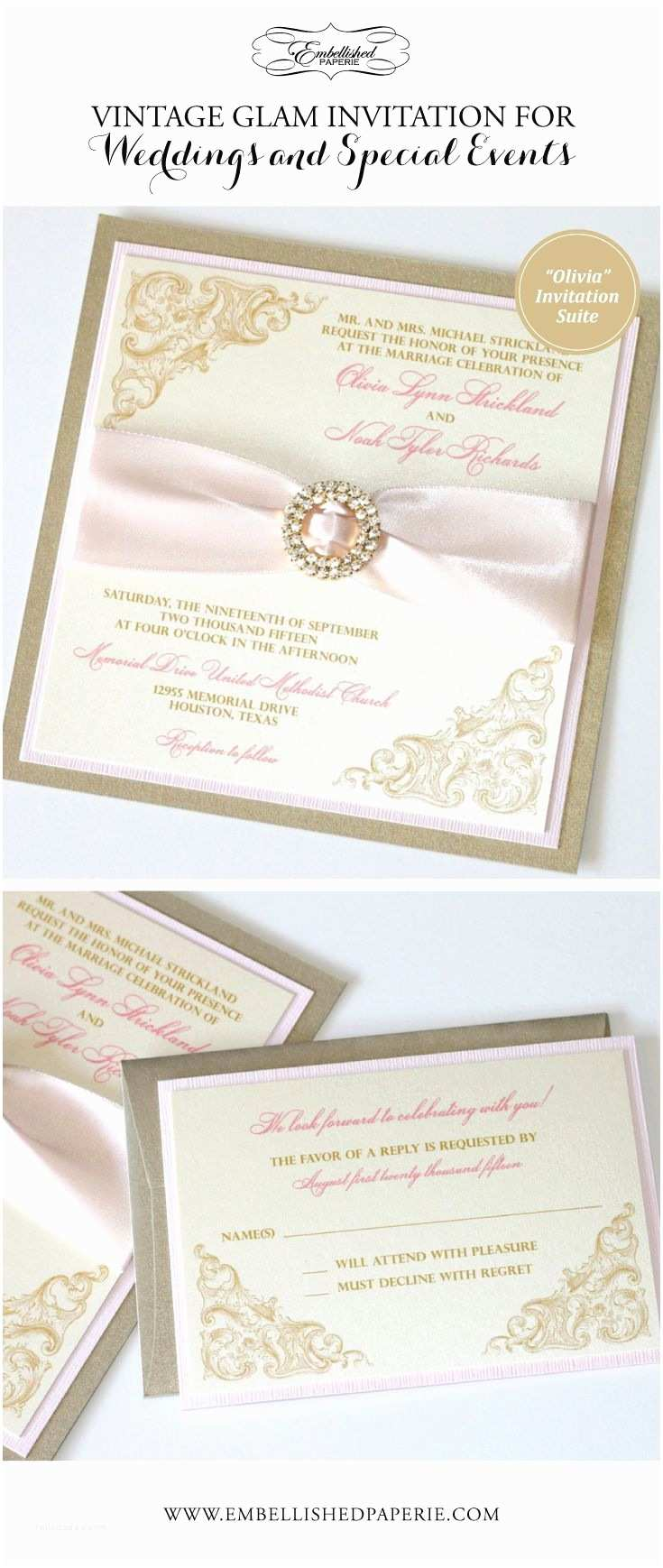 Blush and Gold Wedding Invitations Elegant Wedding Invitation Vintage Wedding Invitation