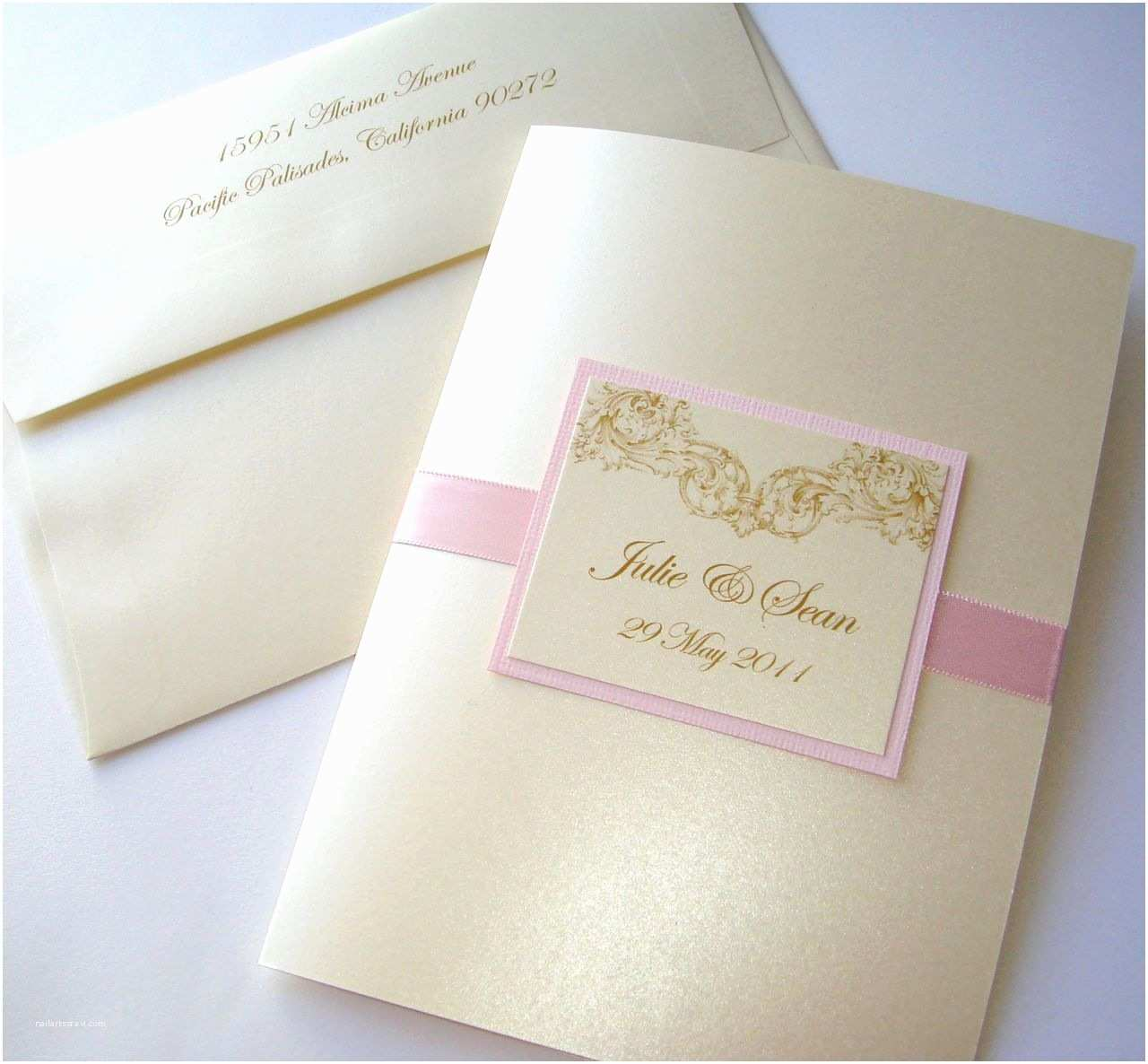 Blush and Gold Wedding Invitations Embellished Paperie Vintage Champagne Gold and Blush