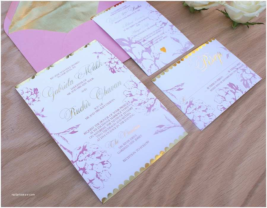 Blush and Gold Wedding Invitations Gold Foil Wedding Invitation with Blush Pink Watercolor