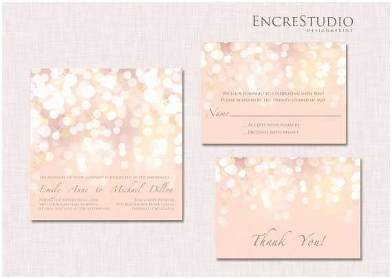 Blush and Gold Wedding Invitations Printable Gold and Blush Bokeh Wedding Invitation