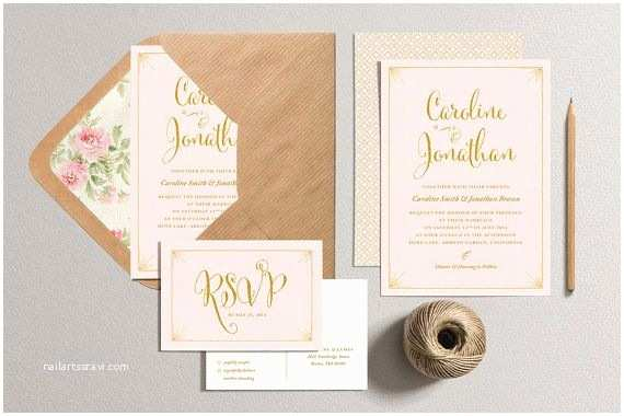 Blush and Gold Wedding Invitations Printable Wedding Invitation and Rsvp Card Blush Pink