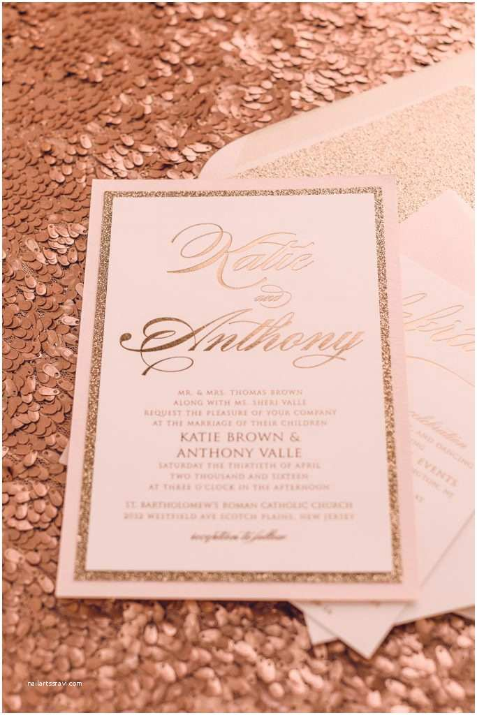 Blush and Gold Wedding Invitations Real Wedding Katie and Anthony