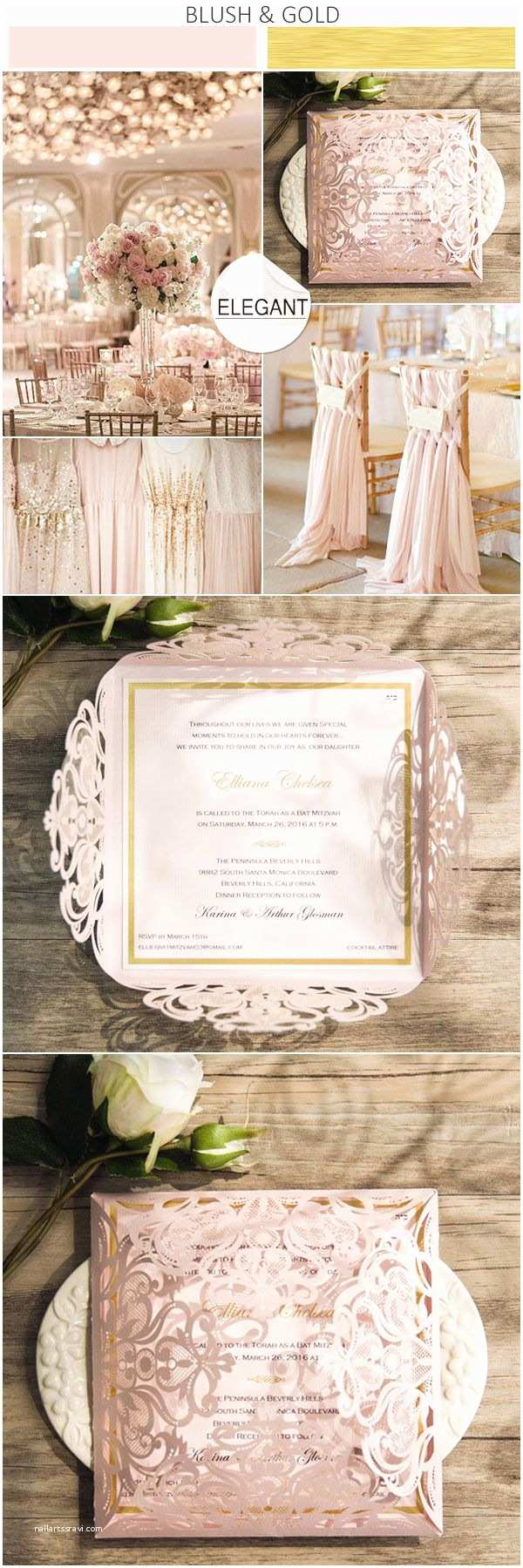 Blush and Gold Wedding Invitations Romantic Blush Pink Laser Cut Gold Foil Stamped Wedding