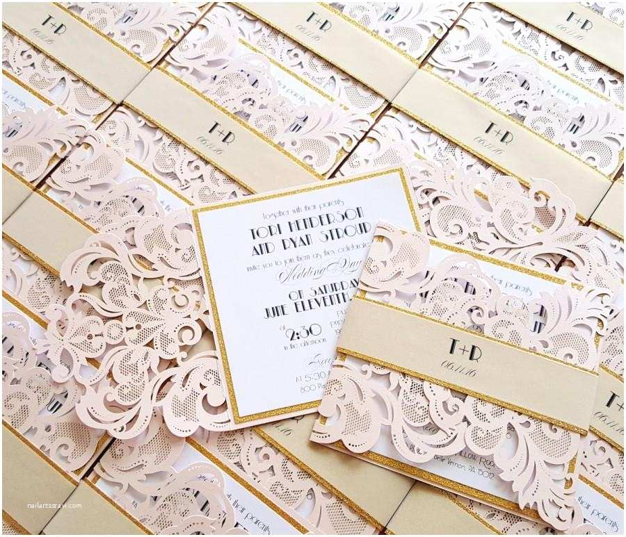 Blush and Gold Wedding Invitations Rose Quartz Laser Cut Wedding Invitations Blush Gold