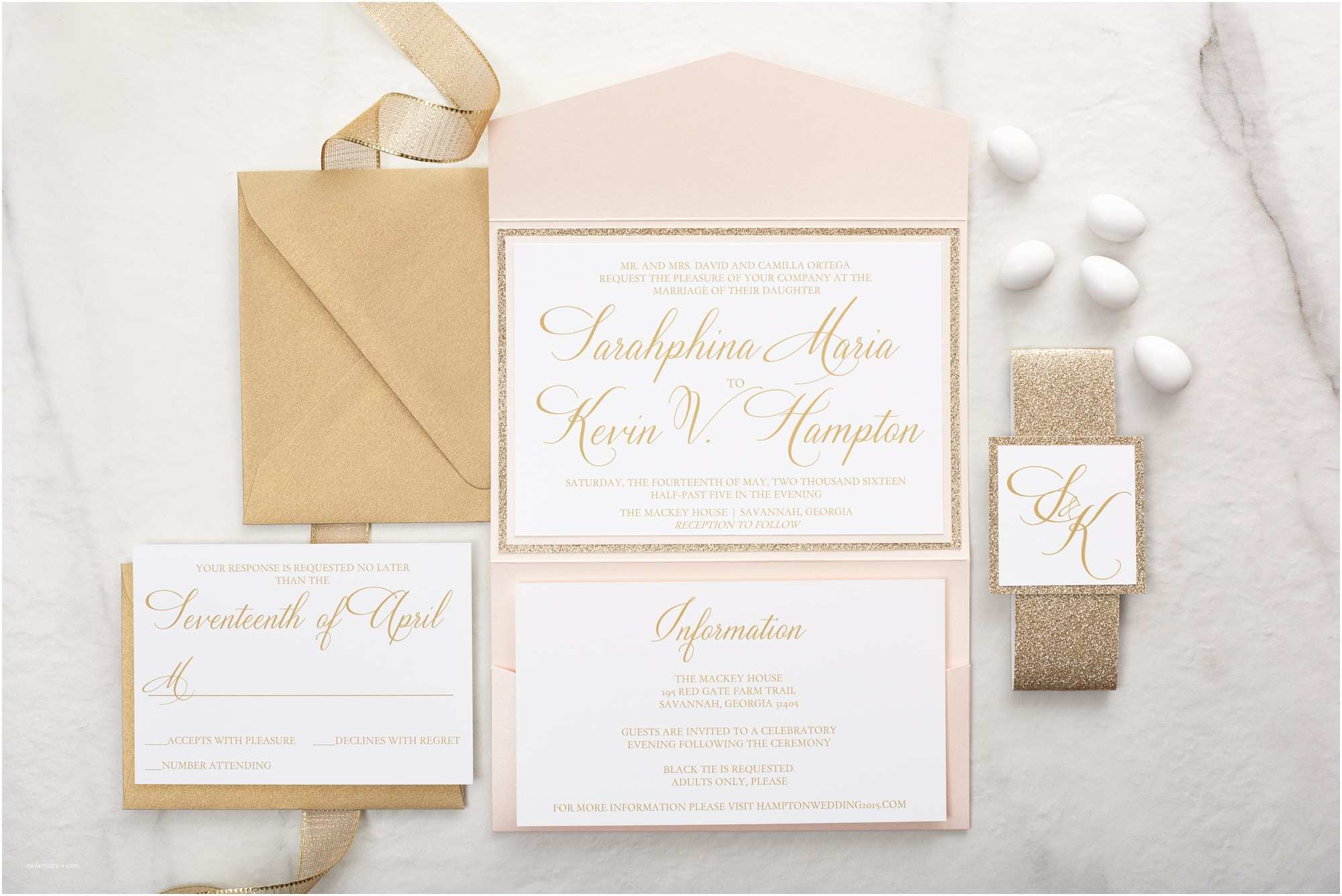 Blush and Gold Wedding Invitations Sarahphina Suite Glitter Wedding Invitation