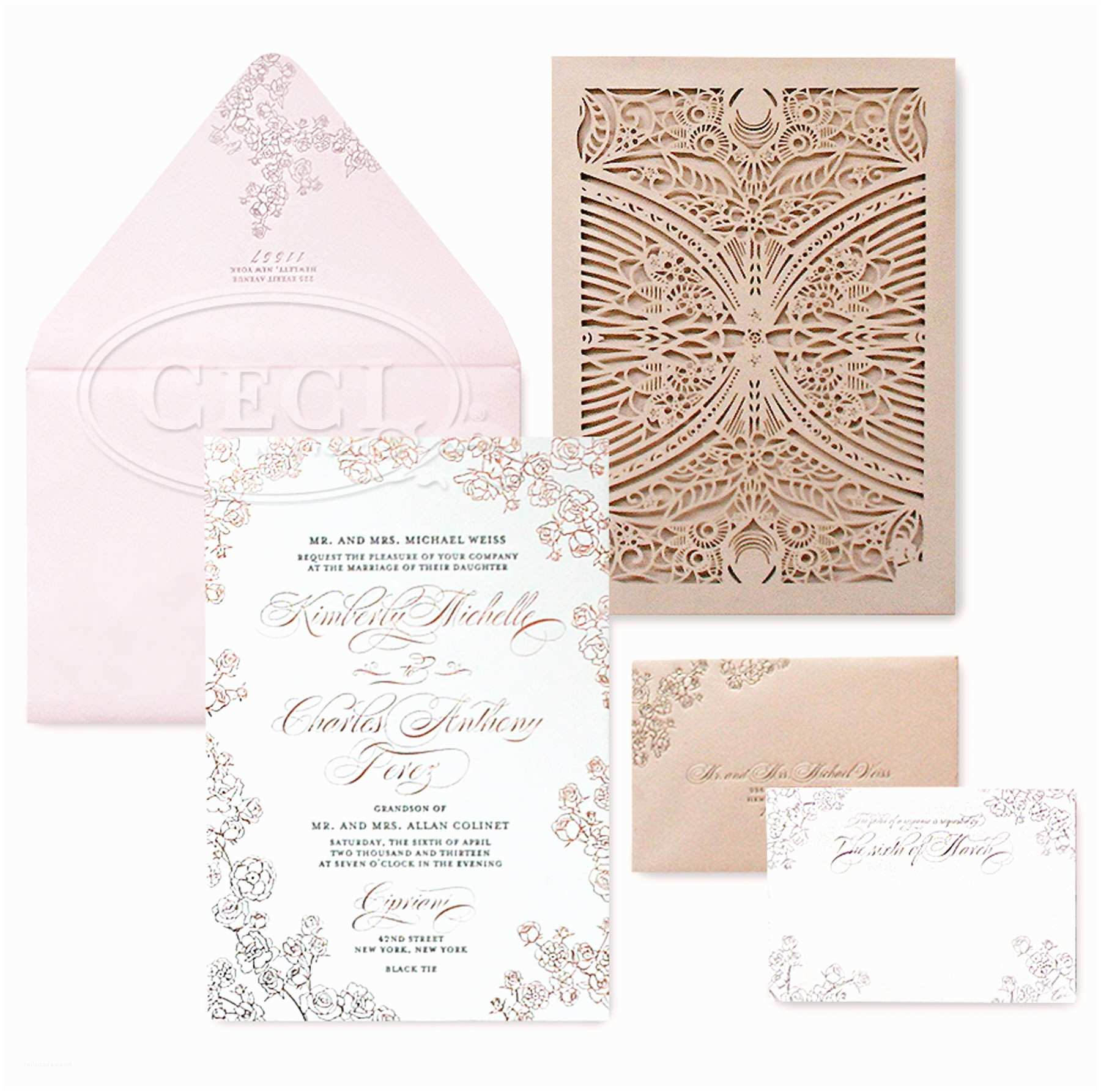Blush and Gold Wedding Invitations V180 Our Muse Blush Pink Cipriani Wedding Kimberly