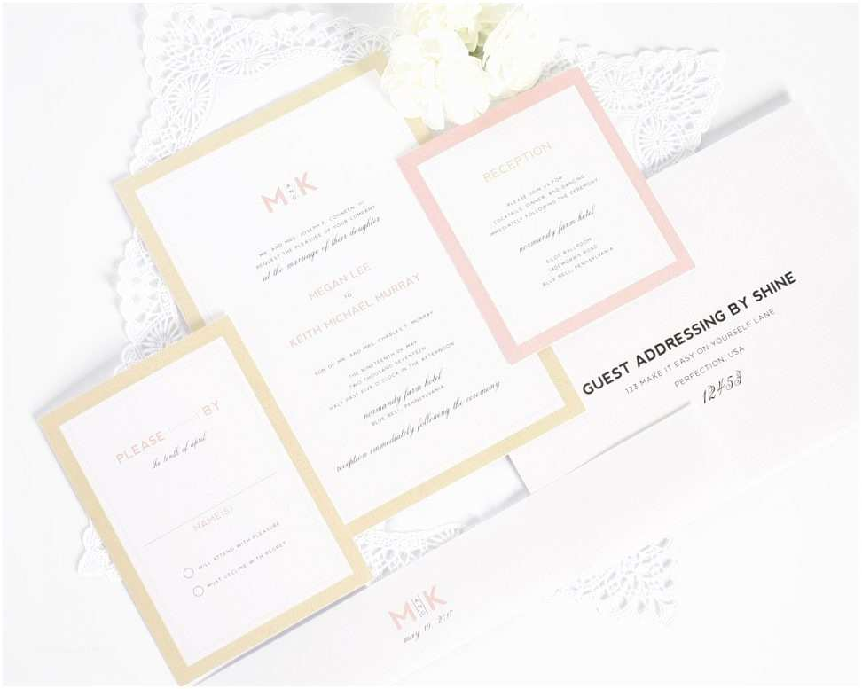 Blush and Gold Wedding Invitations Wedding Invitation Templates Blush and Gold Wedding
