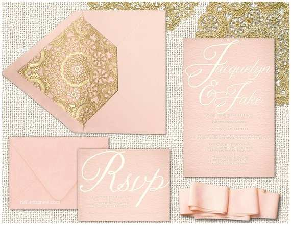 Blush and Gold Wedding Invitations Wedding Invitations In Blush Pink & Gold Printed by
