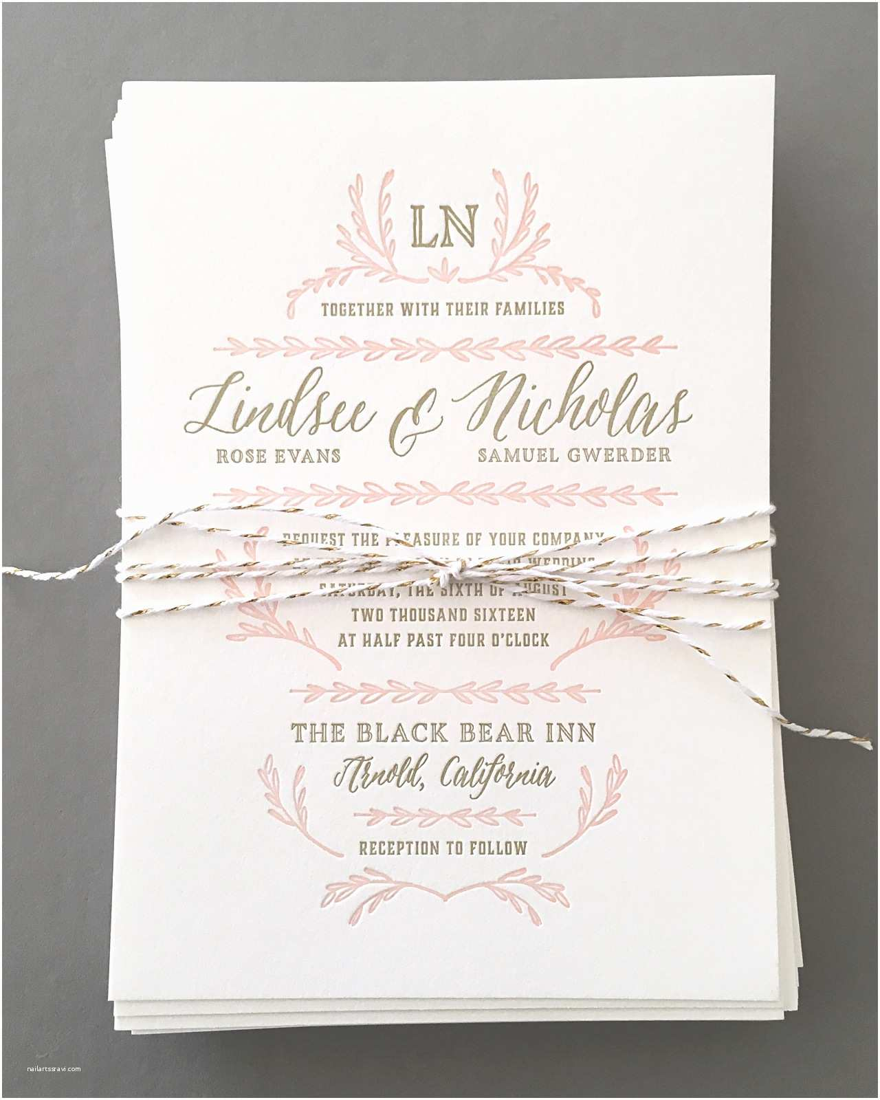 Blush Wedding Invitations Elegant Blush and Gold Letterpress Wedding Invitations