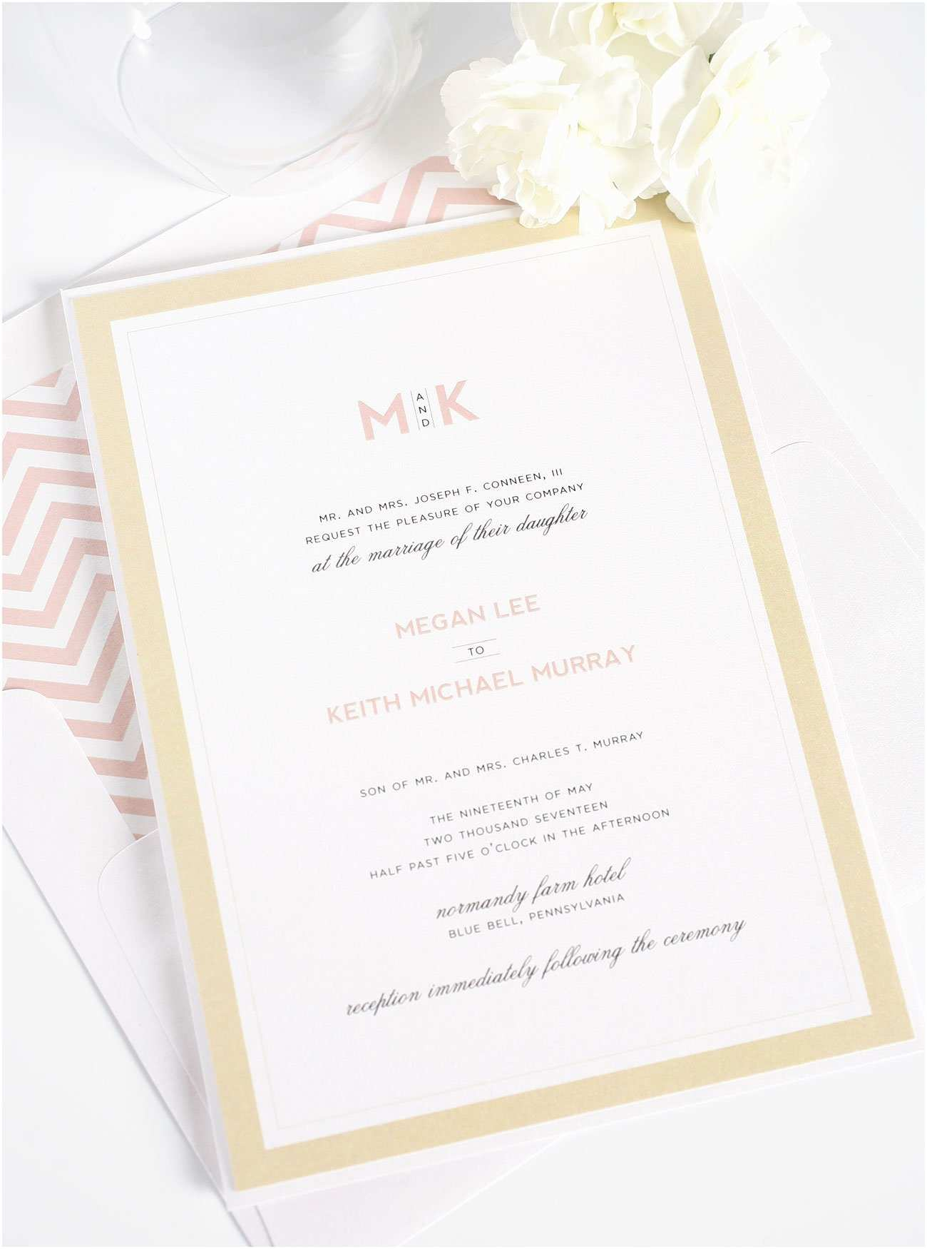 Blush Wedding Invitations Modern Wedding Invitations In Blush and Gold – Wedding