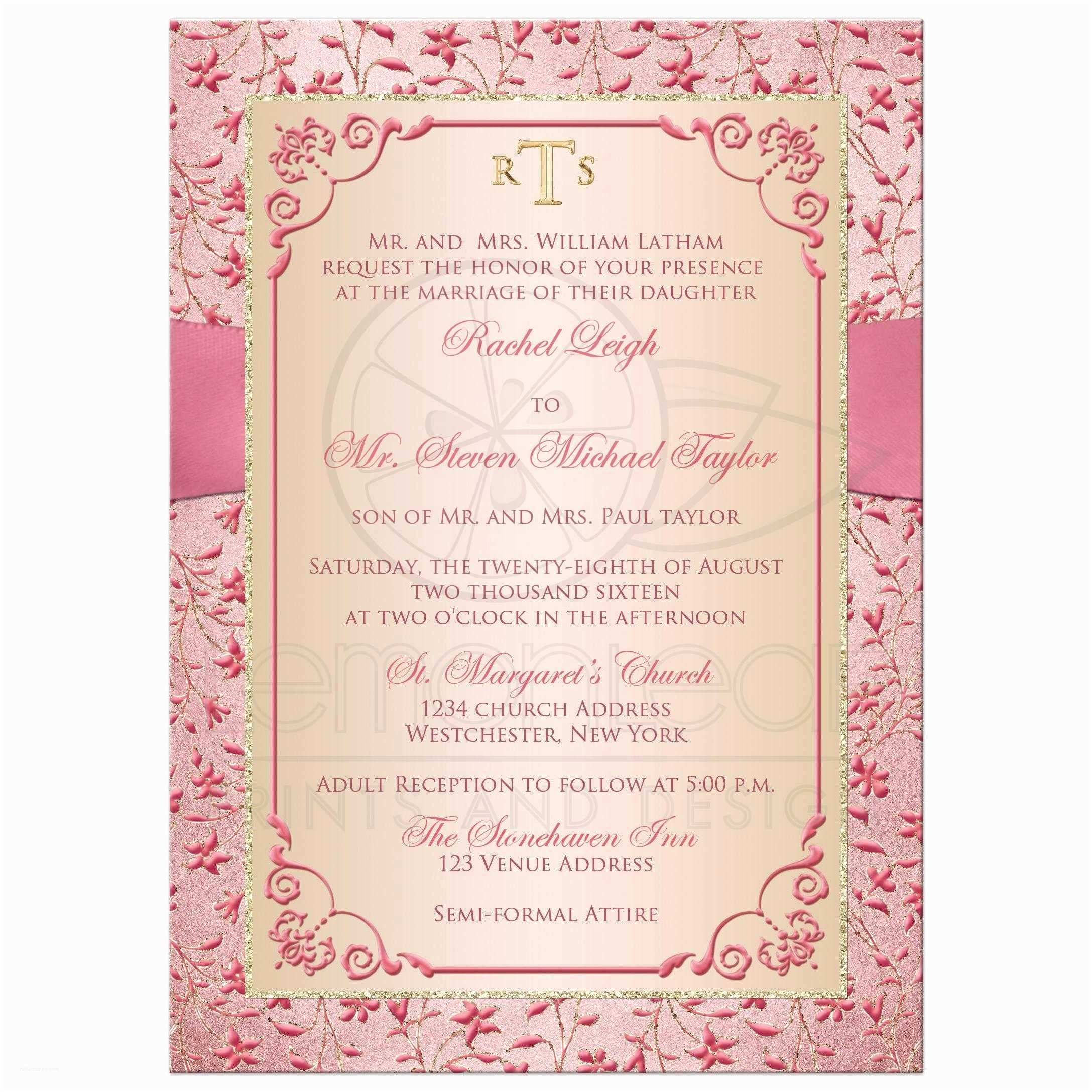 Blush Wedding Invitations Monogrammed Wedding Invitation
