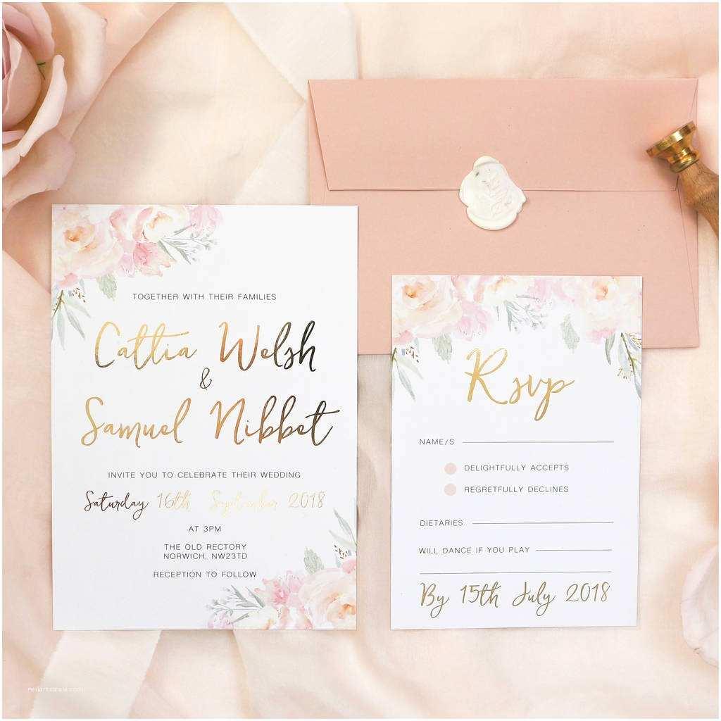 Blush Wedding Invitations Peony Blush Gold Foil Wedding Invitation and Rsvp by Eliza
