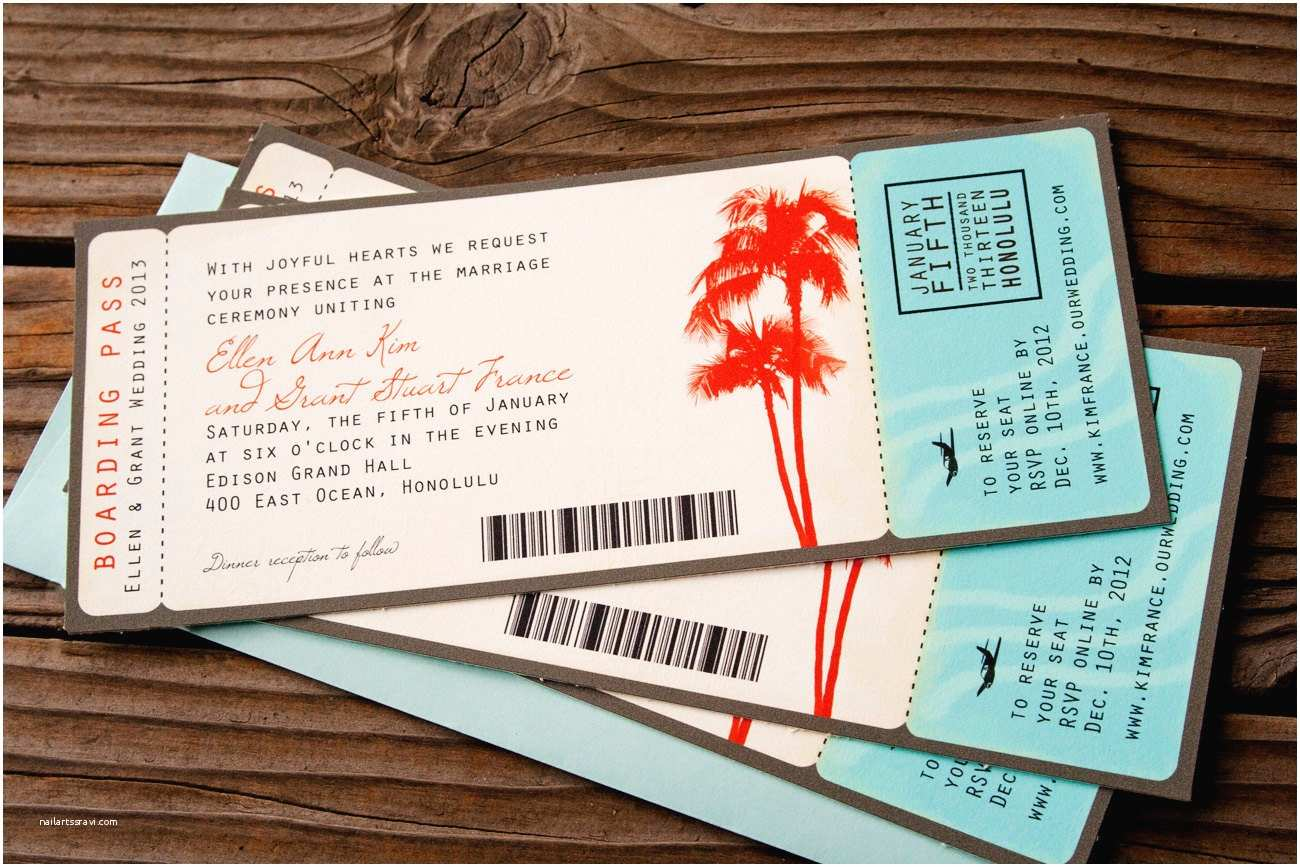 Boarding Pass Wedding Invitations Boarding Pass Wedding Invitations Palm Tree theme by Mavora