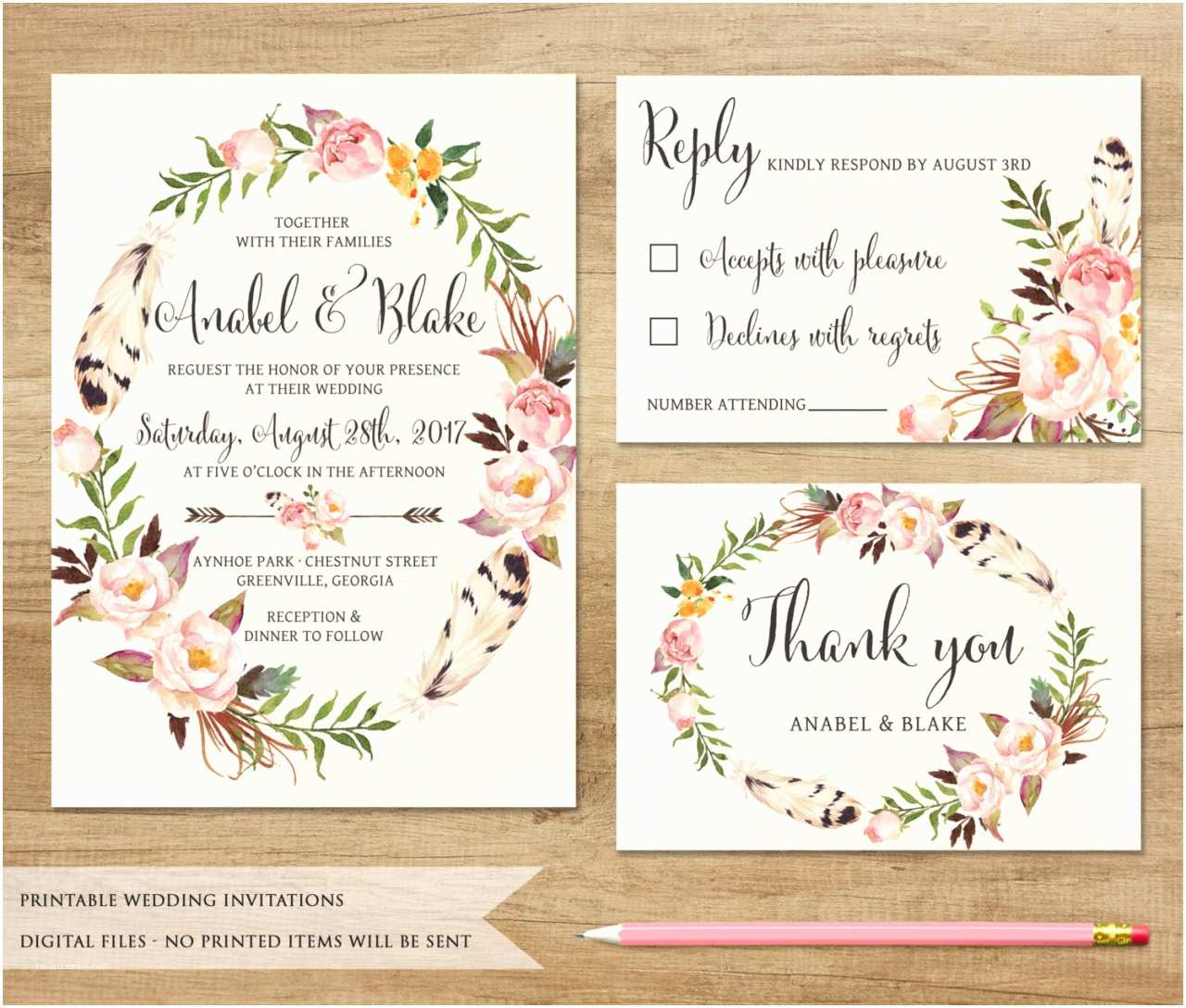 Bohemian Wedding Invitations Wedding Invitation Templates Bohemian Wedding Invitations