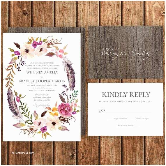 Boho Wedding Invitations Bohemian Wedding Invitation Pink Magenta Blush