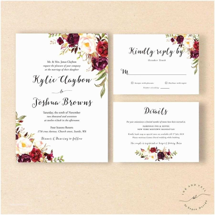 Boho Wedding Invitations Bohemian Wedding Invitation Suite Fall Wedding Invitation