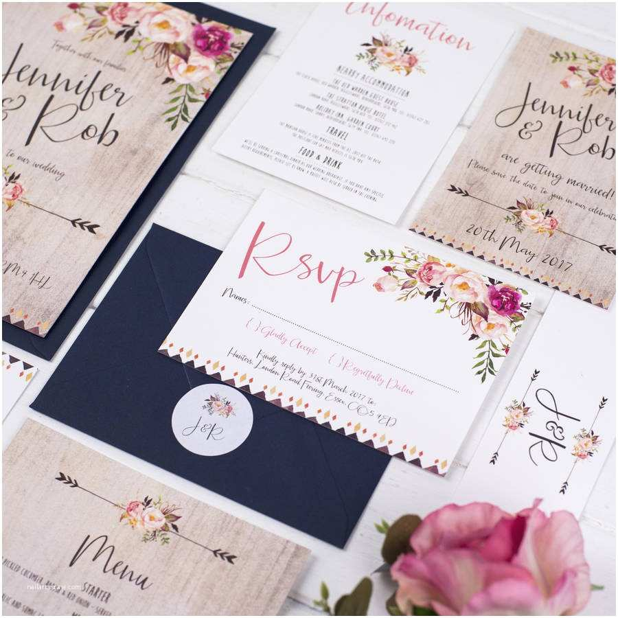 boho floral wedding invitation