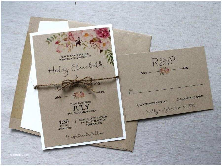 Boho Wedding Invitations Boho Wedding Invitation Rustic Wedding Invitiation