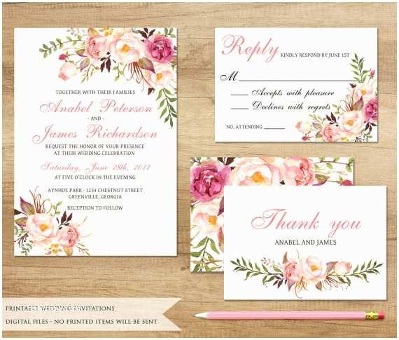 Boho Wedding Invitations Items Similar to Floral Wedding Invitation Printable