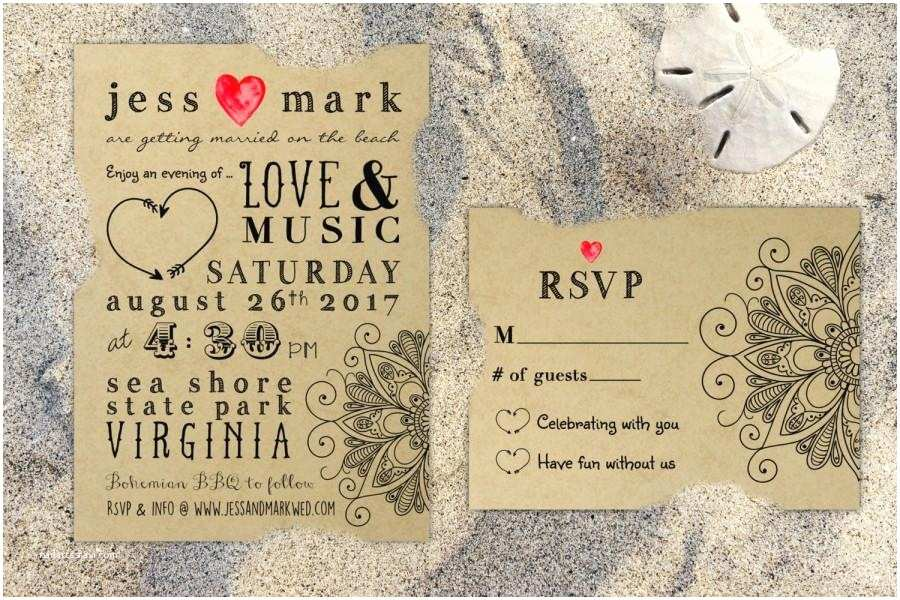 Boho Wedding Invitations Printable Bohemian Rustic Kraft Wedding Invitation & Rsvp