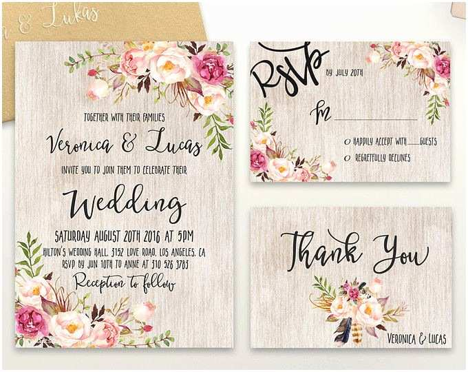 Boho Wedding Invitations Rustic Navy Wedding Invitation Printable Modern Bohemian