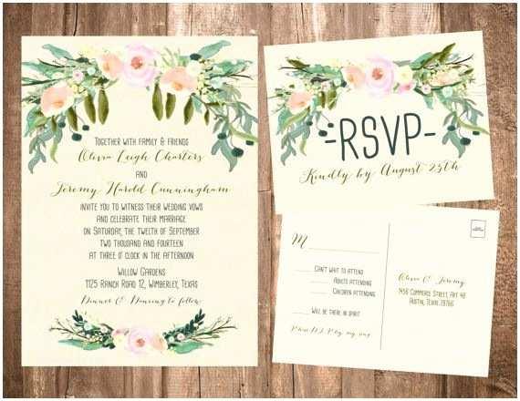 Boho Wedding Invitations Spring Bohemian Wedding Invitation Set Light Pink