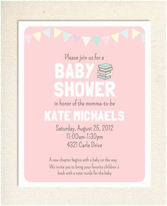 Book Baby Shower Invitations Baby Book Shower Printable Invitation Pink