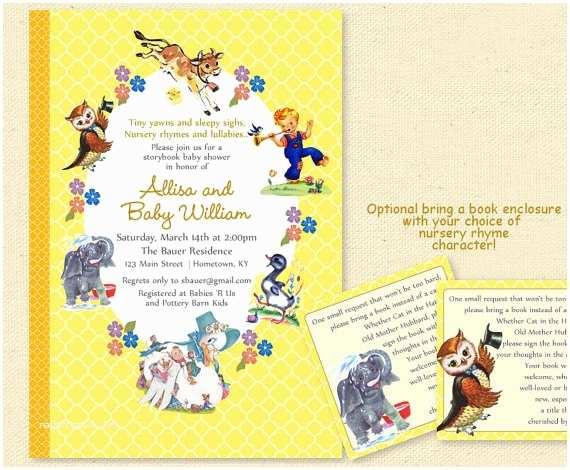 Book Baby Shower Invitations Baby Shower Nursery Rhyme Storybook Invitation Book Baby