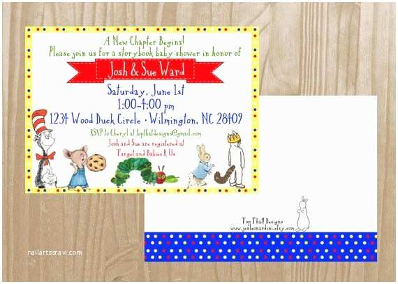 Book Baby Shower Invitations Childrens Book themed Baby Shower Invitation by