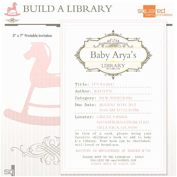 Book Baby Shower Invitations Library Book Baby Shower Printable Invitation Diy Print