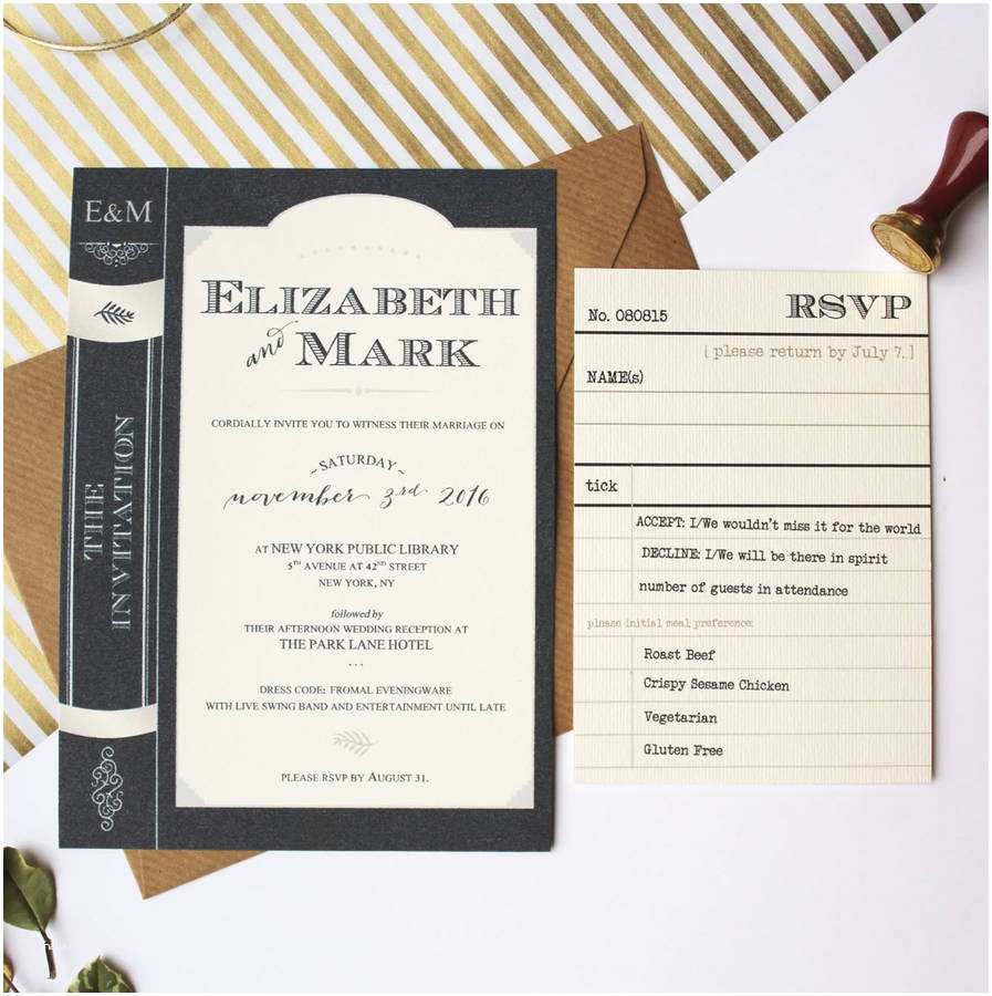 library book wedding invitation suite