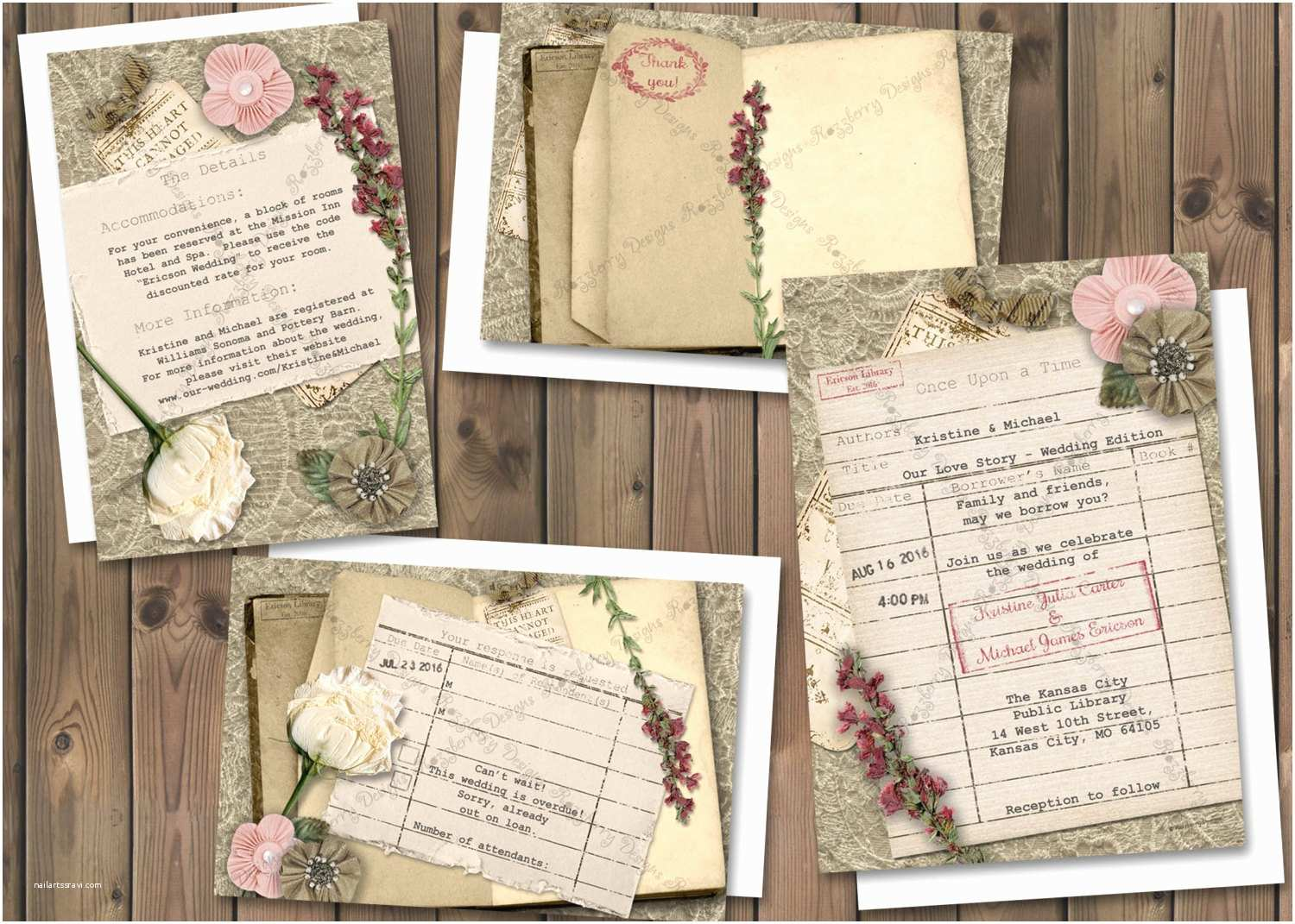Book themed Wedding Invitations Library Card Wedding Invitation Book theme Wedding Invite
