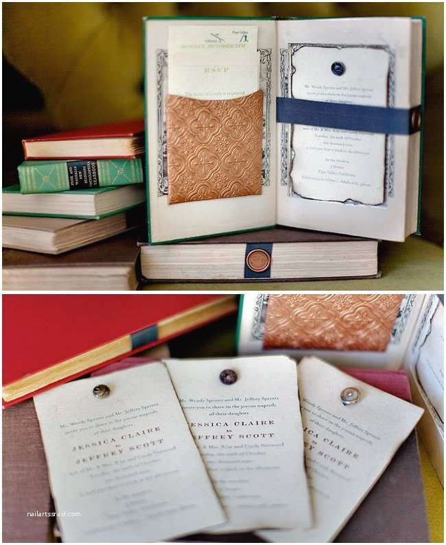 Book themed Wedding Invitations Vintage Books as Wedding Invitations