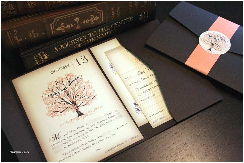 Book Wedding Invitations Sample Fall Vintage Book Wedding Invitation by Vohandmade
