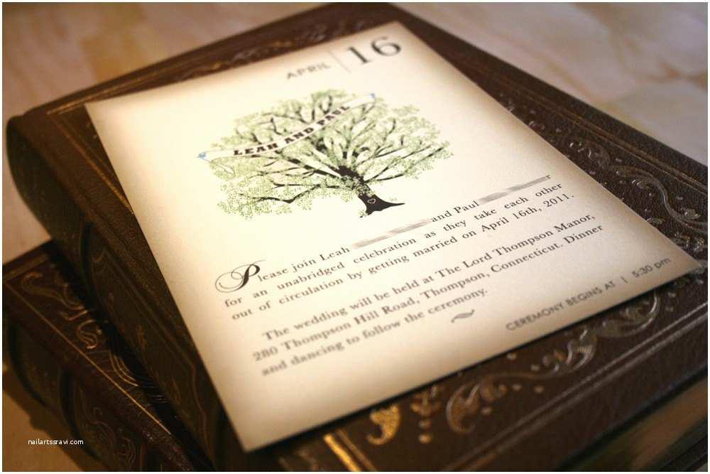 Book Wedding Invitations Sample Vintage Book Wedding Invitation Rustic Tree