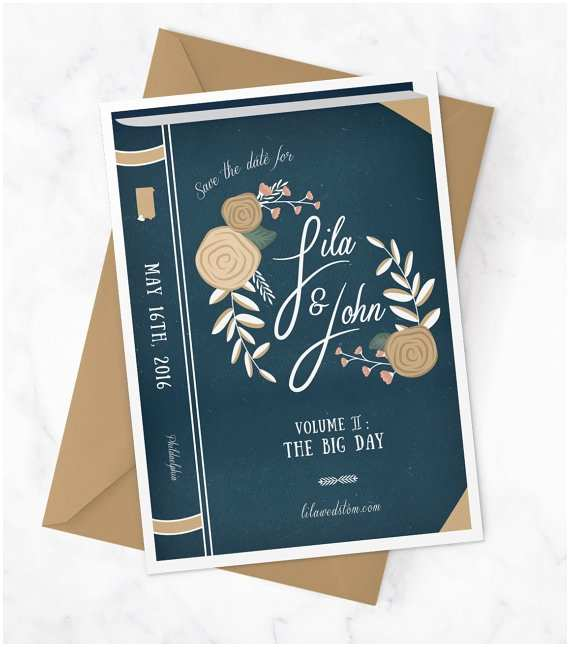 Book Wedding Invitations Vintage Book Wedding Save the Date Library Wedding Save the