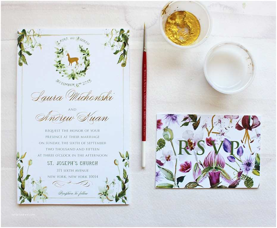 Botanical Wedding Invitations A Peek Into the Studio Watercolor and Gold Foil