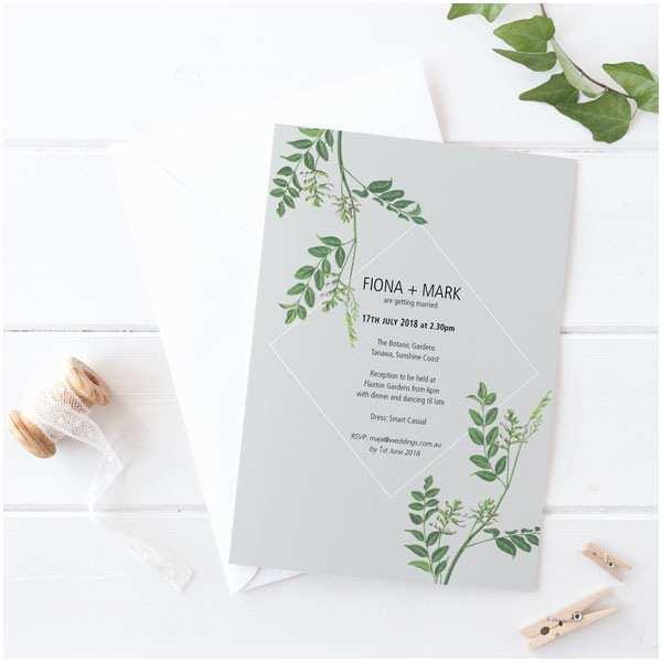 Botanical Wedding Invitations Botanical Leaves Invitation