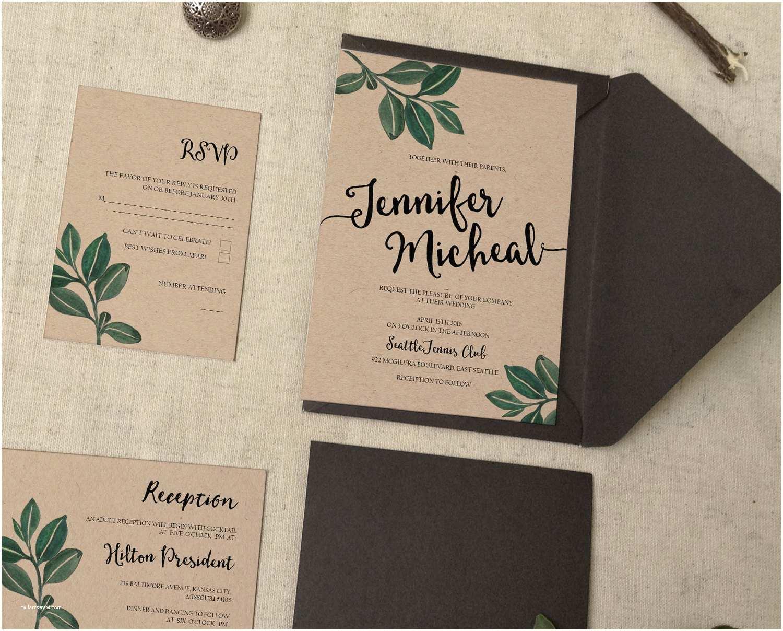 Botanical Wedding Invitations Botanical Leaves Wedding Invitation Watercolor Leaf Rustic