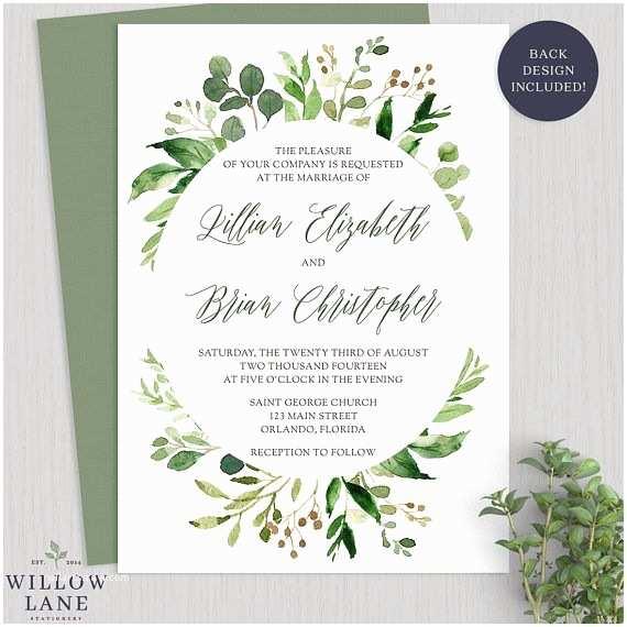 Botanical Wedding Invitations Greenery Wedding Invitation Botanical Wedding Invitations