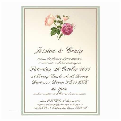 Botanical Wedding Invitations Victorian Botanical Style Wedding Invitation
