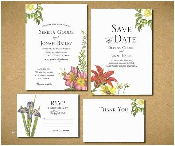 Botanical Wedding Invitations Wildflower Botanical Wedding Invitations Flower Invite Diy