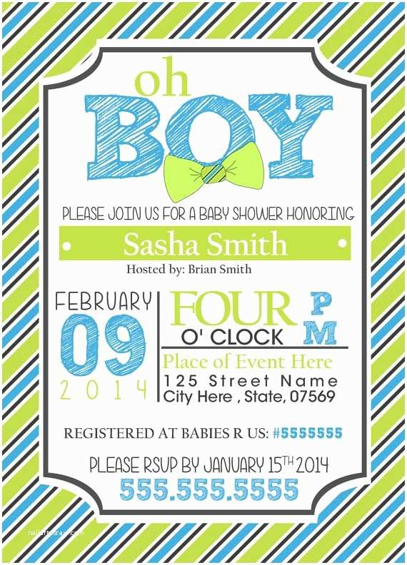 Bow Tie Baby Shower Invitations Baby Shower Invitation for Boy Bow Ties Custom by
