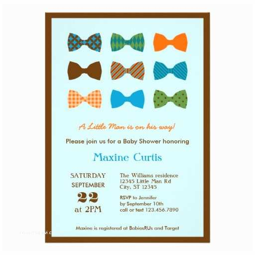 """Bow Tie Baby Shower Invitations Bow Tie Baby Shower Invitation 5"""" X 7"""" Invitation Card"""